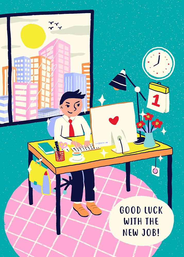 First day at work carolynn yoe portfolio first day at work illustrated greeting card m4hsunfo